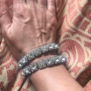 Lk New 2 Bebe Silver Rhinestone Stretch Bracelets